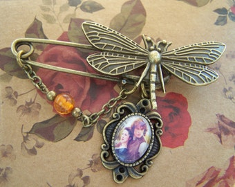 Dragonfly Amber Kilt pin Brooch Jamie Claire inspired by Outlander
