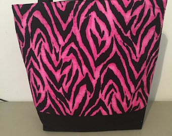 Large Sturdy Tote Bag  Pink/Black Zebra Print