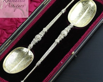 Antique 1905 gold plated sterling silver anointing spoons boxed London British Empire