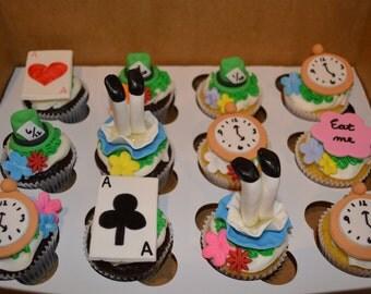 Alice in Wonderland Fondant Cupcake Toppers, Alice in Wonderful, Birthday Cupcake Toppers