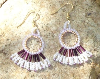 Native American earrings, tribal, seed bead earrings, seed bead jewelry, southwestern, boho, hippie, gypsy