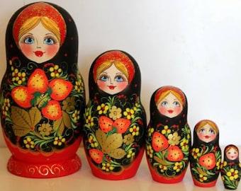 Nesting Doll Russian Khohloma nested doll matreshka babushka wood doll hand painted stacking doll  stacking doll Khohloma