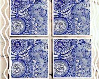 Blue Mandala Doodle Tile Coasters