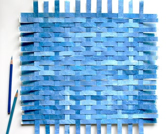 Blue Paper Weaving- Original Woven Art- Abstract- Handwoven, Handpainted- Blue Paper Art- Contemporary- 15x15
