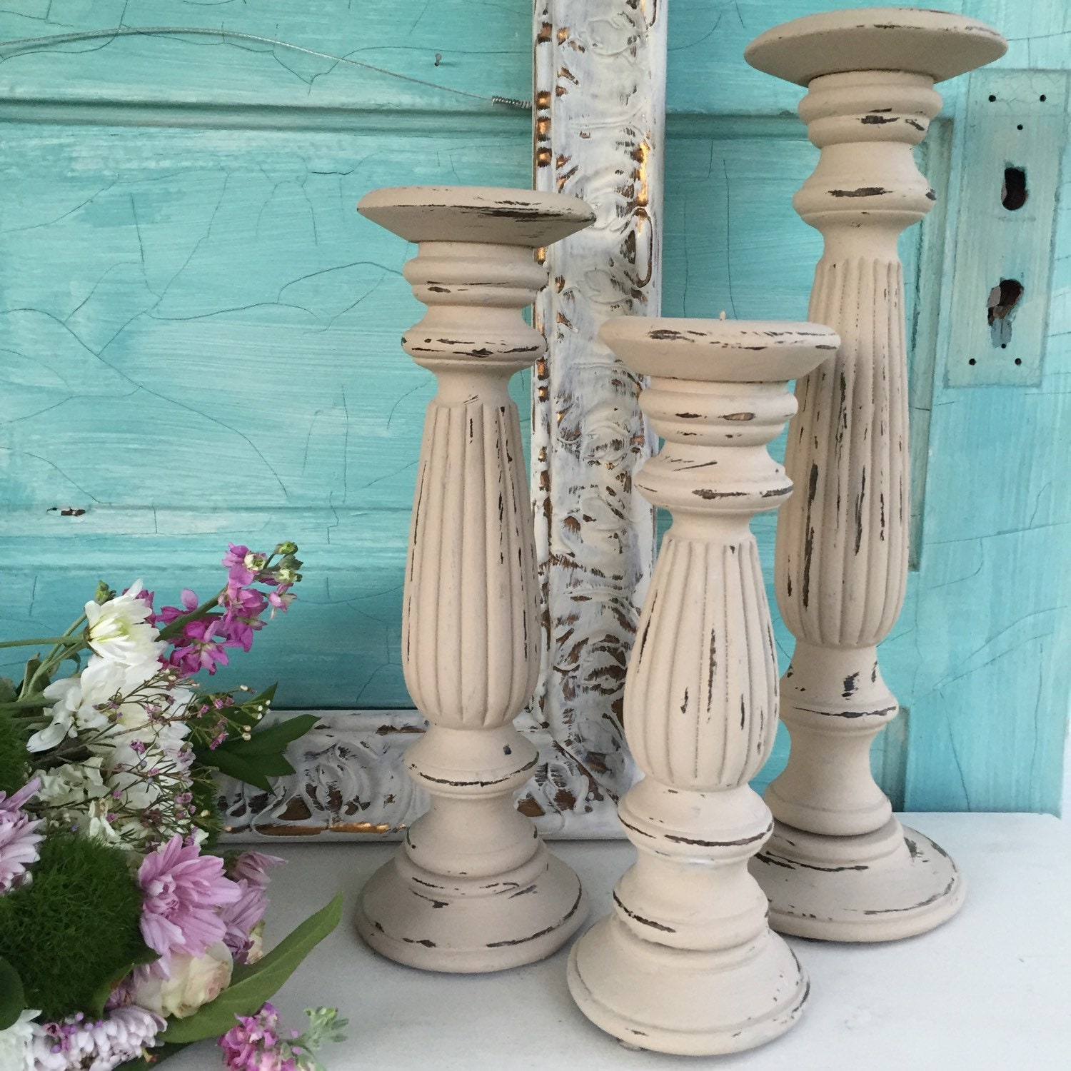 Wooden candle holders shabby chic candlestick holders wedding for Picture frame candle centerpiece