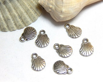 8 Sea Shell Charm, Sea Scallop Charms, Shell Charms, Shell Charm, Small Shell Charm, Ocean Charms, Sea Shells, Tiny Shell Charms, SC-20