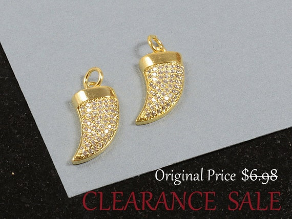 SALE - CZ Horn Charm Micro Pave 18mm long  / Cubic Zirconia Rhinestone Horn Charm in Gold Plating - 2 pcs/ order