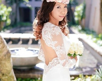 Lace Long Sleeve Wedding Dress, Lace Wedding Dress With Sleeve, Backless Wedding Dress, Lace sleeve wedding dress, Unique Wedding Dress