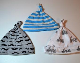 Baby Boy Newborn Beanie. Mustache Newborn Beanie. Blue Grey Stripe Newborn Beanie. Motorcycle Newborn Beanie. Infant Beanie