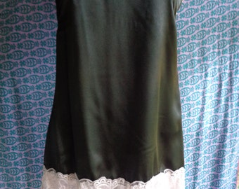 Vintage slip cami teddy  top dress black with pink lace