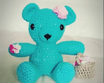 "Handmade Amigurumi ""Something Blue"" Flower Girl Bear,  Wedding Gift"