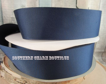 "3 yards of 1 1/2"" solid navy blue grosgrain ribbon"