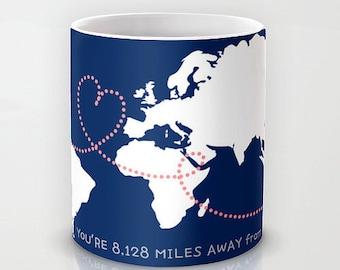 Personalized mug cup designed PinkMugNY - Long Distance Love - World Map #2