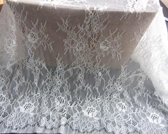 """3 Yards*59"""" white eyelash lace fabric  , Chantilly Eyelash Lace Fabric in white  for Wedding Gowns, black eyelash lace fabric-T003"""