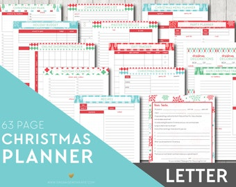 LETTER Christmas Planner - Holiday Printable Planner Inserts Filofax - Party Planner, Christmas Dinner, Letter to Santa INSTANT DOWNLOAD