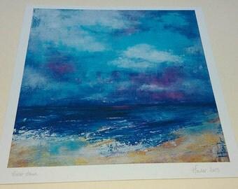 Seascape print Abstract print Bold beach scene Violet wall art Beach art print Storm clouds art Home deco art Seascape painting Violet dawn