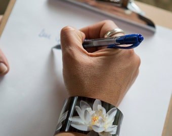 Photo cuff bracelet, aluminum, Wondrous Water Lily, fine art for your wrist, HueDew