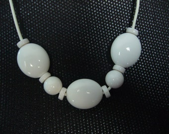 Vintage, 1950's White Lucite Beads Necklace.