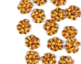 15 small multishade/yellow crocheted appliqué flowers