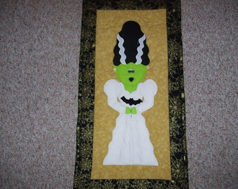 Frankenstein-Mrs. Frankenstein wall quilt machine appliqued and quilted Halloween wall hanging