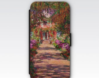 Wallet Case for iPhone 8 Plus, iPhone 8, iPhone 7 Plus, iPhone 7, iPhone 6, iPhone 6s, iPhone 5/5s -  The Garden Path at Giverny by Monet