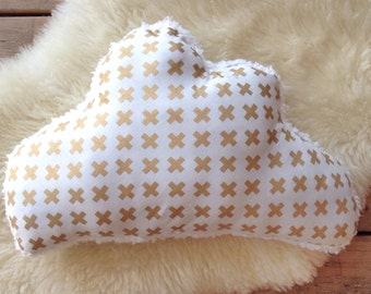 Cloud Pillow, Cloud Cushion, Gold Swiss Cross Cloud Pillow, Sherpa Cushion, Nursery Decor, Dorm Room Decor, Kids Cushion, Kids Pillow