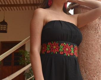 Red Flower Embroidered Belt