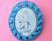 "Handmade ""Make it Blue"" Castle Brooch with Blue Oval Setting - Sleeping Beauty Inspired"
