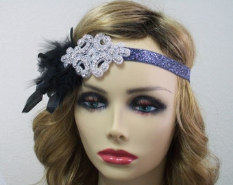1920s headpiece, Flapper headband, Great Gatsby headband, 1920s headband, 1920s hair accessory, Feather headband, Vintage inspired