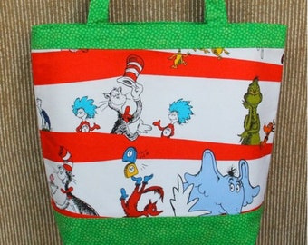 Medium Tote/Library Bag. Fabric-White/Green Cat in the Hat. Fully Lined & interfaced.