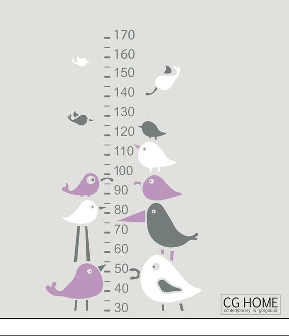 lavender scandinavian Birds growth chart WALL DECAL vinyl for children sticker NURSERY