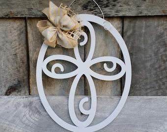 Cross Door Hanger - Painted Cross Wall Hanging - Mother's Day Gift - Housewarming Gift - Wedding Gift