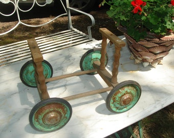 antique doll carriage wheels / vintage doll carriage base and wheels