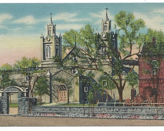 Old Albuquerque, New Mexico Church of San Felipe De Neri Linen Era Old Postcard (Unposted)