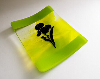 Orchid on Spring Green Fused Glass Dish