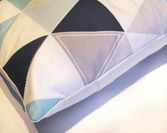 Quilted Throw Pillow // Hamptons Triangles// ocean