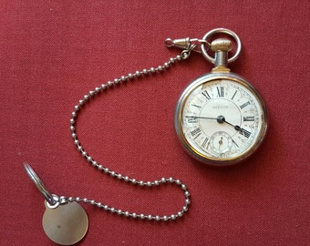 Vintage Westclox Pocket Watch Roman Numerals gold tone with chain non-working