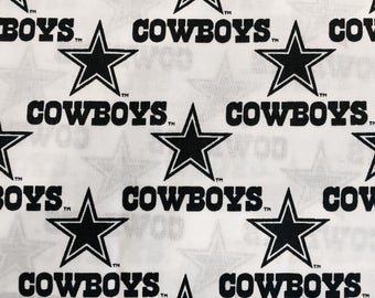 """DALLAS COWBOYS nfl 60"""" Cotton Fabric By The Yard All Over White Print Fabric Traditions"""