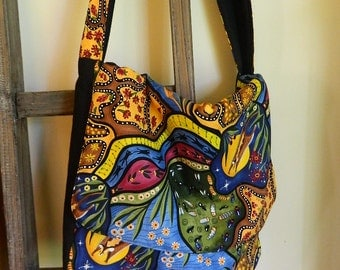 Bright Colored Messenger Bag - Handmade, Australian Aboriginal Artist Design Fabric, 100% cotton, fully lined with soft cotton canvas