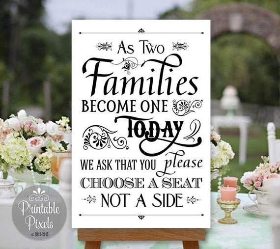 Choose A Seat Not A Side Wedding Sign Printable By PrintablePixels