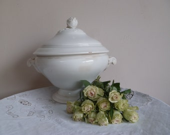 French Antique white stoneware soup tureen with lid 'Opaque de Sarreguemine' marked on the base 1800's