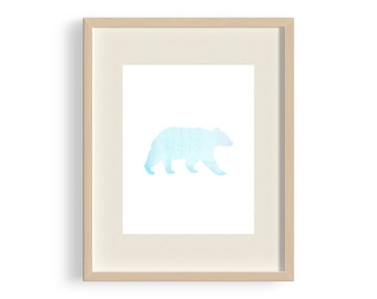 Wall Art, Print, Nursery Decor - Bear - Blue