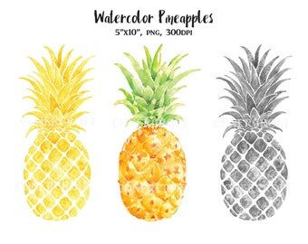 Rustic dining room decor - Watercolour Pineapples Still Life Silver And Gold For Instant