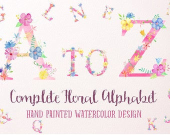 Watercolor Floral Alphabets Pink for instant download