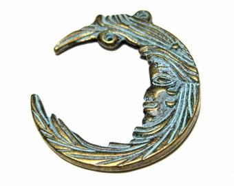 Large Crescent Moon Charms Pendants Patina Bronze Tone Double Sided 38mm