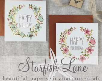 Happy Birthday Wreath Card Pack/ 6 cards 99mmx99mm when folded & 6 Envelopes