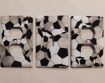Soccer Light Switch Plate Outlet Plug Cover Custom Sports Wall Plate Cable Rocker Protective Plug Inserts