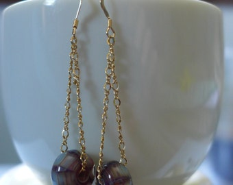 Gold Dangle Earrings with Art Glass Beads