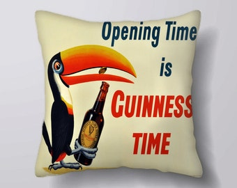 Opening time is Guinness time - Cushion Cover Case Or Stuffed With Insert