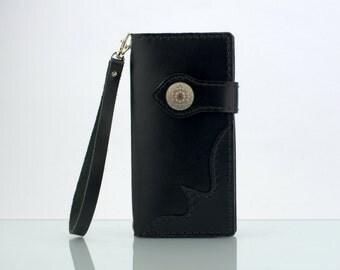 """iPhone 6s Plus Wallet Leather iPhone 6s Plus Wristlet iPhone 6s Plus Purse Wrist Strap Black Italian Leather Wallet for iPhone 6s Plus 5.5"""""""